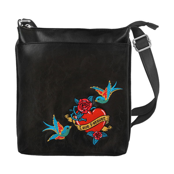 Designed by vegan brand LAVISHY, this Eco-friendly, ethically made, cruelty free cross body/messenger bag features lovely tattoo love birds flower embroidery motif. Wholesale available at www.lavishy.com along with other unique & fun vegan fashion accessories for retailers like gift shop & boutique.