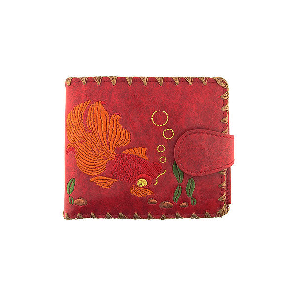 Shop vegan brand LAVISHY's embroidered goldfish medium bifold flat wallet for women that is Eco-friendly, ethically made, cruelty free. Great for everyday use or a gift for your family & friends. Wholesale at www.lavishy.com to gift shops, fashion accessories & clothing boutiques worldwide since 2001.