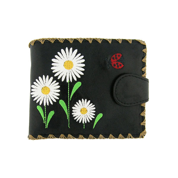 Shop embroidered daisy flower & ladybug vegan medium wallet for women by vegan brand LAVISHY, this Eco-friendly, ethically made, cruelty free wallet's lovely embroidery motif is framed by decorative stitches around the edge. Wholesale at www.lavishy.com with unique & fun fashion accessories for gift shop, boutique & corporate buyers.