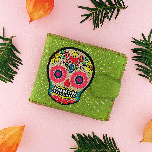 Shop embroidered sugar skull vegan medium bifold wallet for women by PETA approved vegan brand LAVISHY, this Eco-friendly, ethically made, cruelty free wallet's lovely embroidery motif is framed by decorative stitches around the edge. Wholesale at www.lavishy.com with uniquefun fashion accessories for gift shop, boutique & corporate buyers.