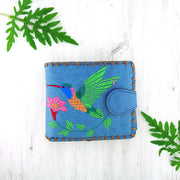 Online shopping for embroidered hummingbird & flower vegan medium bi-fold wallet for women by vegan brand LAVISHY, this Eco-friendly, ethically made, cruelty free wallet is great for everyday use & as a gift. Wholesale at www.lavishy.com with unique fun fashion accessories for gift shop, boutique & corporate buyers.