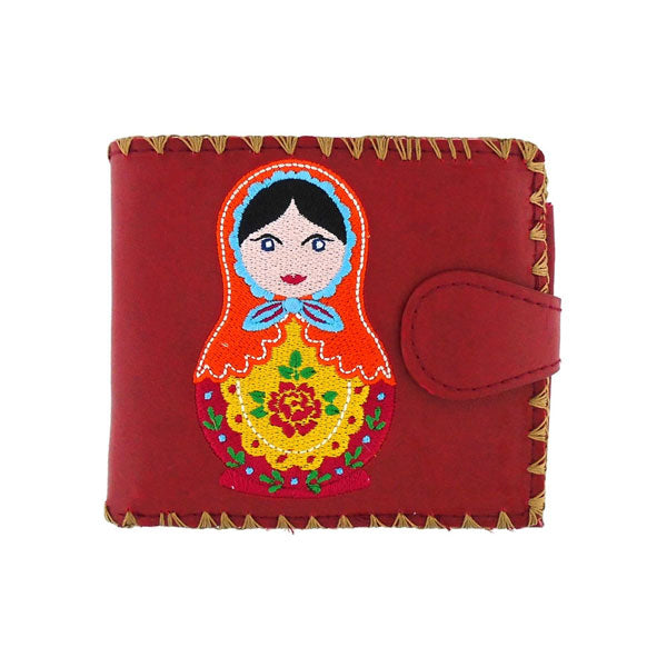 Shop embroidered Matryoshka doll vegan medium bifold wallet for women by vegan brand LAVISHY, this Eco-friendly, ethically made, cruelty free wallet's lovely embroidery motif is framed by decorative stitches around the edge. Wholesale at www.lavishy.com with uniquefun fashion accessories for gift shop, boutique & corporate buyers.