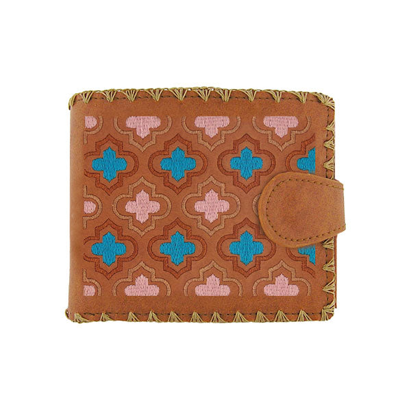 Online shopping for vegan brand LAVISHY's embroidered Moroccan pattern medium bifold wallet for women that is Eco-friendly, ethically made, cruelty free. Great for everyday use or a gift for your family & friends. Wholesale at www.lavishy.com to gift shops, fashion accessories & clothing boutiques worldwide since 2001.