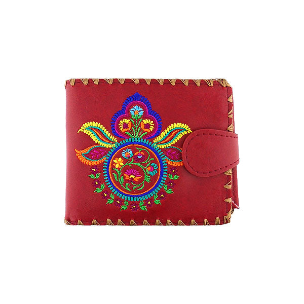 Shop vegan brand LAVISHY's embroidered Indian paisley pattern medium bifold wallet for women that is Eco-friendly, ethically made, cruelty free. Great for everyday use or a gift for your family & friends. Wholesale at www.lavishy.com to gift shops, fashion accessories & clothing boutiques worldwide since 2001.