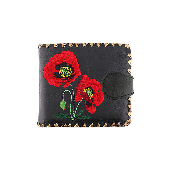Shop vegan brand LAVISHY's embroidered poppy flower medium bifold wallet for women that is Eco-friendly, ethically made, cruelty free. Great for everyday use or a gift for your family & friends. Wholesale at www.lavishy.com to gift shops, fashion accessories & clothing boutiques worldwide since 2001.