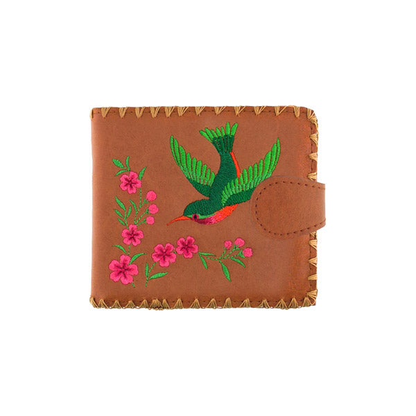 Shop embroidered hummingbird & flower vegan medium bi-fold wallet for women by vegan brand LAVISHY, this Eco-friendly, ethically made, cruelty free wallet is great for everyday use & as a gift. Wholesale at www.lavishy.com with unique fun fashion accessories for gift shop, boutique & corporate buyers.