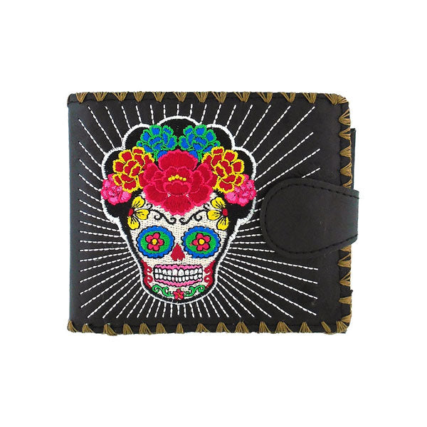 Shop embroidered Frida style sugar skull vegan medium bifold wallet for women by vegan brand LAVISHY, this Eco-friendly, ethically made, cruelty free wallet's lovely embroidery motif is framed by decorative stitches around the edge. Wholesale at www.lavishy.com with uniquefun fashion accessories for gift shop, boutique & corporate buyers.