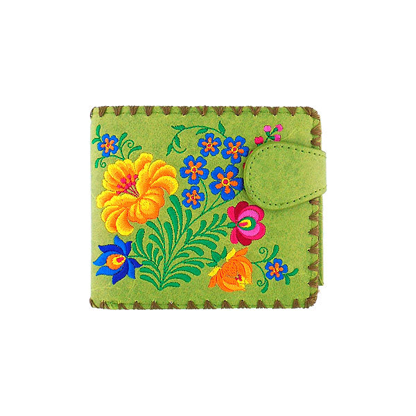 Online shopping for vegan brand LAVISHY's embroidered Hungarian flower medium bifold wallet for women that is Eco-friendly, ethically made, cruelty free. Great for everyday use or a gift for your family & friends. Wholesale at www.lavishy.com to gift shops, fashion accessories & clothing boutiques worldwide since 2001.