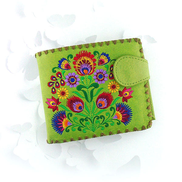 Shop embroidered Polish flower vegan medium bifold wallet for women by vegan brand LAVISHY, this Eco-friendly, ethically made, cruelty free wallet's lovely embroidery motif is framed by decorative stitches around the edge. Wholesale at www.lavishy.com with uniquefun fashion accessories for gift shop, boutique & corporate buyers.