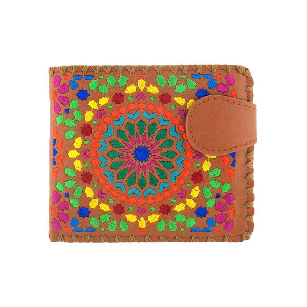 Online shopping for vegan brand LAVISHY's embroidered Moroccan tile art pattern medium bifold wallet for women that is Eco-friendly, ethically made, cruelty free. Great for everyday use or a gift for your family & friends. Wholesale at www.lavishy.com to gift shops, fashion accessories & clothing boutiques worldwide since 2001.