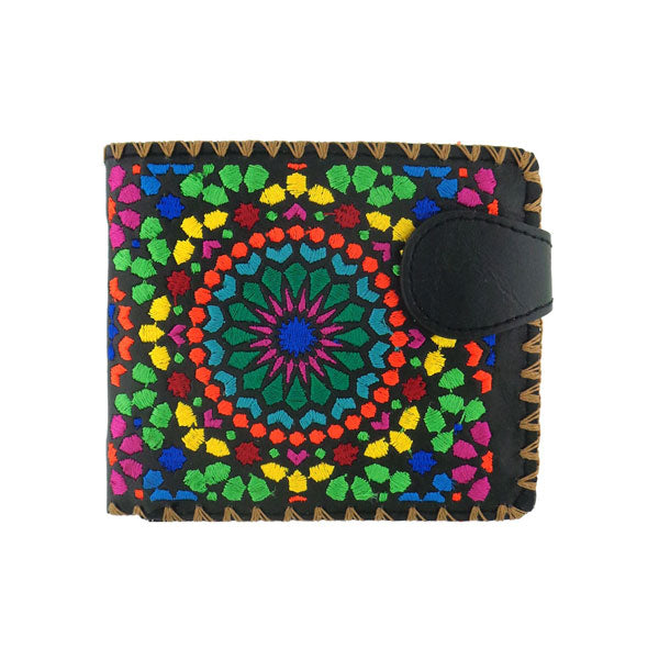 Shop embroidered Moroccan tile art pattern vegan medium bifold wallet for women by vegan brand LAVISHY, this Eco-friendly, ethically made, cruelty free wallet's lovely embroidery motif is framed by decorative stitches around the edge. Wholesale at www.lavishy.com with uniquefun fashion accessories for gift shop, boutique & corporate buyers.