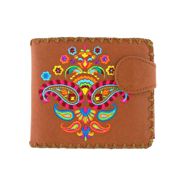 Online shopping for vegan brand LAVISHY's embroidered Indian paisley medium bifold wallet for women that is Eco-friendly, ethically made, cruelty free. Great for everyday use or a gift for your family & friends. Wholesale at www.lavishy.com to gift shops, fashion accessories & clothing boutiques worldwide since 2001.