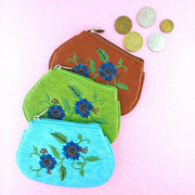 97-336: Carnation flower embroidered coin purse