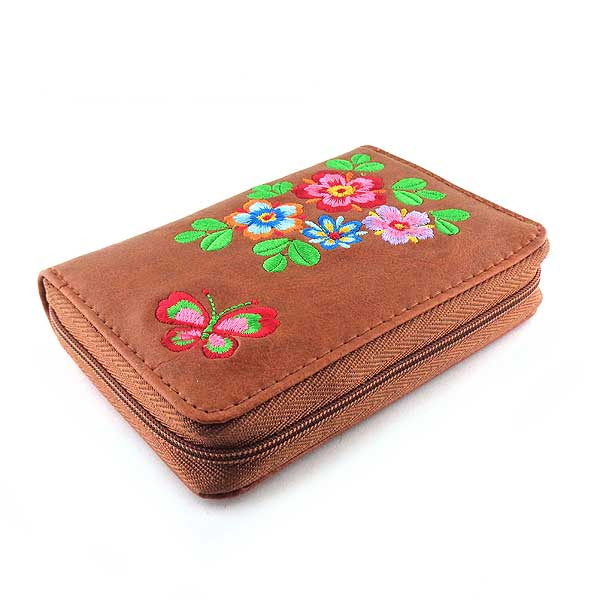 Shop PETA approved vegan brand LAVISHY's embroidered vegan/faux leather cardholder with delightful flower & butterfly embroidery motif.  It's Eco-friendly, ethically made, cruelty free. A great gift for you or your friends & family. Wholesale available at www.lavishy.com with many unique & fun fashion accessories.