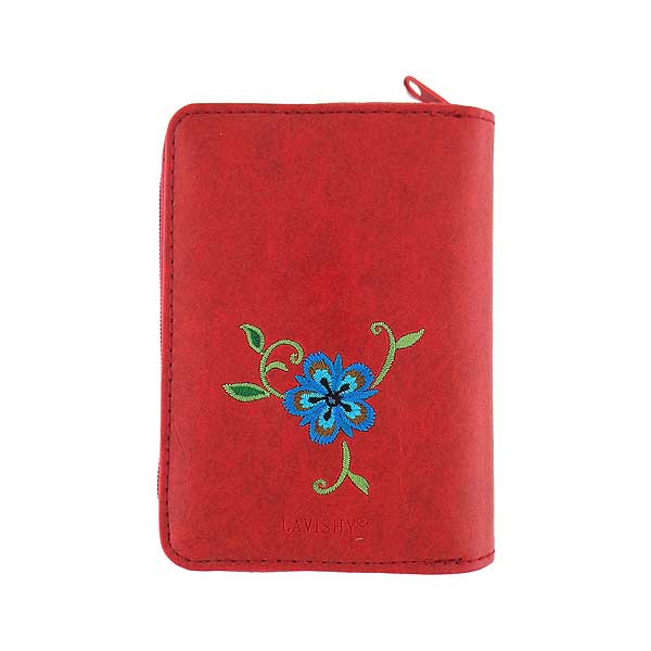Shop vegan brand LAVISHY's embroidered vegan/faux leather cardholder with delightful carnation embroidery motif.  It's Eco-friendly, ethically made, cruelty free. A great gift for you or your friends & family. Wholesale available at www.lavishy.com with many unique & fun fashion accessories.