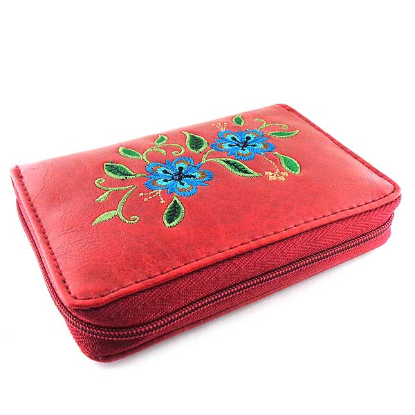 Shop PETA approved vegan brand LAVISHY's embroidered vegan/faux leather cardholder with delightful carnation embroidery motif.  It's Eco-friendly, ethically made, cruelty free. A great gift for you or your friends & family. Wholesale available at www.lavishy.com with many unique & fun fashion accessories.