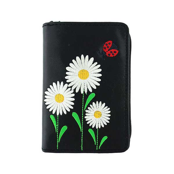 Shop PETA approved vegan brand LAVISHY's embroidered vegan/faux leather cardholder with delightful daisy & ladybug embroidery motif.  It's Eco-friendly, ethically made, cruelty free. A great gift for you or your friends & family. Wholesale available at www.lavishy.com with many unique & fun fashion accessories.