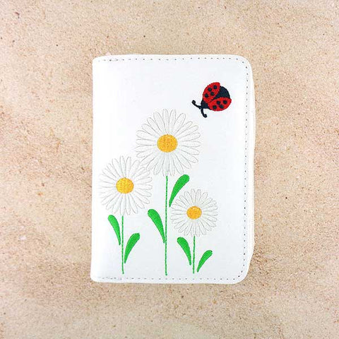 Shop vegan brand LAVISHY's embroidered daisy flower & ladybug vegan cardholder that is Eco-friendly, ethically made, cruelty free. Great for everyday use or a gift for your family & friends. Wholesale at www.lavishy.com to gift shops, fashion accessories & clothing boutiques, book stores worldwide since 2001.