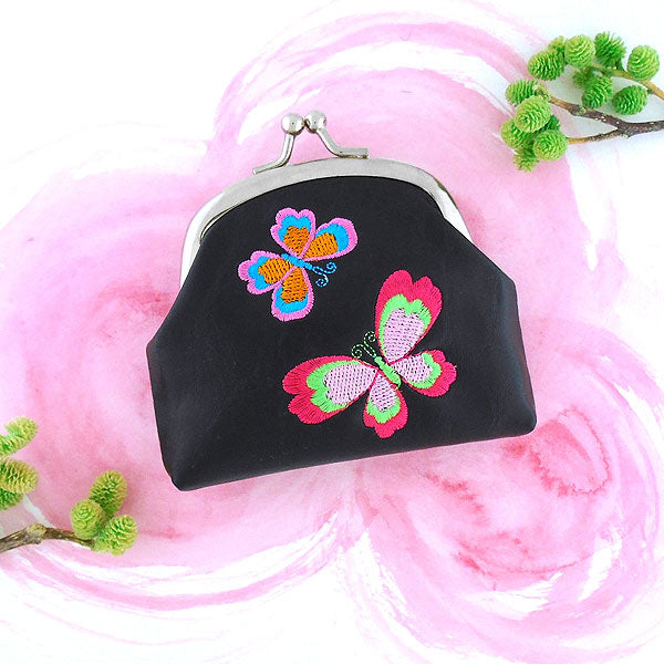 Online shopping for vegan brand LAVISHY's love butterfly embroidered kiss lock frame vegan coin purse that is Eco-friendly, ethically made, cruelty free. Great for everyday use or a gift for your family & friends. Wholesale at www.lavishy.com to gift shops, fashion accessories & clothing boutiques worldwide since 2001.