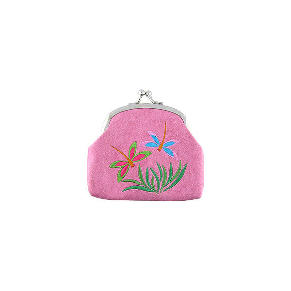 Online shopping for vegan brand LAVISHY's dragonfly embroidered kiss lock frame vegan coin purse that is Eco-friendly, ethically made, cruelty free. Great for everyday use or a gift for your family & friends. Wholesale at www.lavishy.com to gift shops, fashion accessories & clothing boutiques worldwide since 2001.