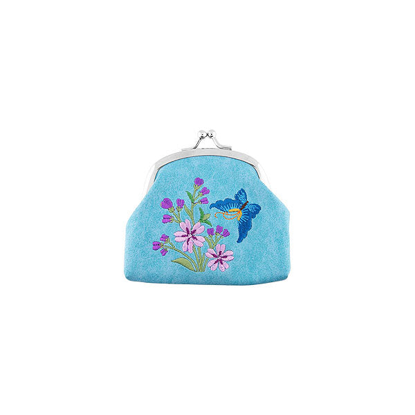 Shop vegan brand LAVISHY's butterfly embroidered kiss lock frame vegan coin purse that is Eco-friendly, ethically made, cruelty free. Great for everyday use or a gift for your family & friends. Wholesale at www.lavishy.com to gift shops, fashion accessories & clothing boutiques worldwide since 2001.