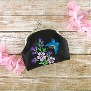 Online shopping for vegan brand LAVISHY's butterfly embroidered kiss lock frame vegan coin purse that is Eco-friendly, ethically made, cruelty free. Great for everyday use or a gift for your family & friends. Wholesale at www.lavishy.com to gift shops, fashion accessories & clothing boutiques worldwide since 2001.