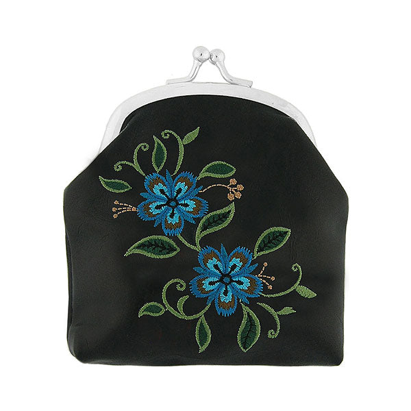 Shop vegan brand LAVISHY's carnation flower embroidered kiss lock frame vegan coin purse that is Eco-friendly, ethically made, cruelty free. Great for everyday use or a gift for your family & friends. Wholesale at www.lavishy.com to gift shops, fashion accessories & clothing boutiques worldwide since 2001.