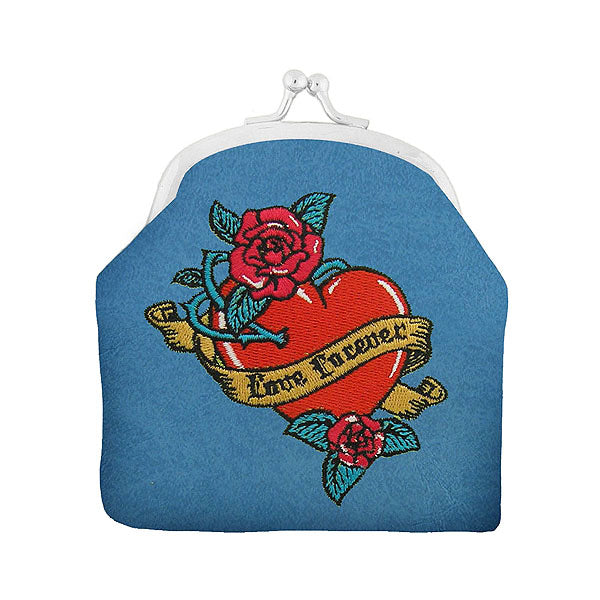 Shop vegan brand LAVISHY's tattoo style love swallow birds, heart, love forever ribbon and red rose flower embroidered kiss lock frame vegan coin purse that is Eco-friendly, ethically made, cruelty free. Great for everyday use or a gift for your family & friends. Wholesale at www.lavishy.com to gift shops, fashion accessories & clothing boutiques worldwide since 2001.
