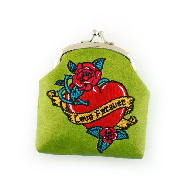Online shopping for LAVISHY  tattoo style love swallow birds, heart, love forever ribbon and red rose flower embroidered kiss lock frame vegan coin purse that is Eco-friendly, ethically made, cruelty free. Great for everyday use or a gift for your family & friends. Wholesale at www.lavishy.com to gift shops, fashion accessories & clothing boutiques worldwide since 2001.