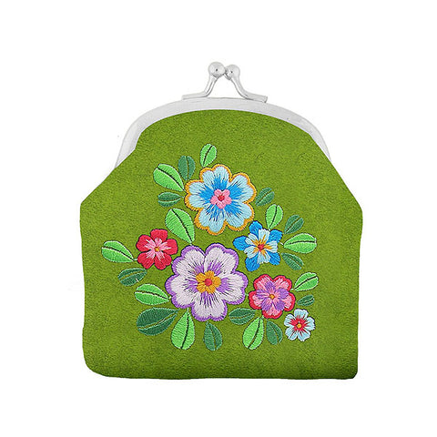 Shop vegan brand LAVISHY's flower embroidered kiss lock frame vegan coin purse that is Eco-friendly, ethically made, cruelty free. Great for everyday use or a gift for your family & friends. Wholesale at www.lavishy.com to gift shops, fashion accessories & clothing boutiques worldwide since 2001.