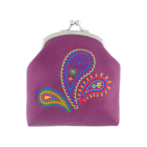 Shop vegan brand LAVISHY's Indian style paisley pattern embroidered kiss lock frame vegan coin purse that is Eco-friendly, ethically made, cruelty free. Great for everyday use or a gift for your family & friends. Wholesale at www.lavishy.com to gift shops, fashion accessories & clothing boutiques worldwide since 2001.