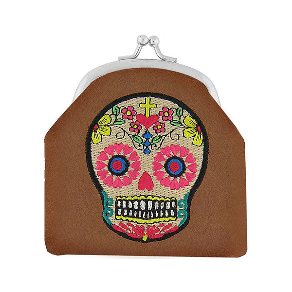 Designed by vegan brand LAVISHY, this Eco-friendly, ethically made, cruelty free retro style kiss lock frame coin purse with lovely tattoo skull & bird embroidery motif. Wholesale available at www.lavishy.com along with other unique & fun vegan fashion accessories for retailers like gift shop & boutique.