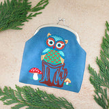 Shop vegan brand LAVISHY's owl bird & mushroom embroidered kiss lock frame vegan coin purse that is Eco-friendly, ethically made, cruelty free. Great for everyday use or a gift for your family & friends. Wholesale at www.lavishy.com to gift shops, fashion accessories & clothing boutiques worldwide since 2001.