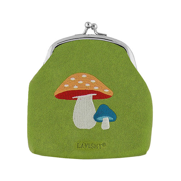 Online shopping for LAVISHY  owl bird & mushroom embroidered kiss lock frame vegan coin purse that is Eco-friendly, ethically made, cruelty free. Great for everyday use or a gift for your family & friends. Wholesale at www.lavishy.com to gift shops, fashion accessories & clothing boutiques worldwide since 2001.