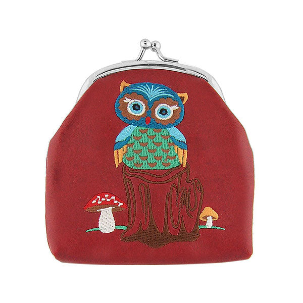 Designed by PETA approved vegan brand LAVISHY, this Eco-friendly, ethically made, cruelty free retro style kiss lock frame coin purse with lovely owl & mushroom embroidery motif. Wholesale available at www.lavishy.com along with other unique & fun vegan fashion accessories for retailers like gift shop & boutique.