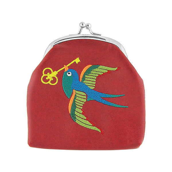 Shop vegan brand LAVISHY's tattoo style swallow bird with golden key embroidered kiss lock frame vegan coin purse that is Eco-friendly, ethically made, cruelty free. Great for everyday use or a gift for your family & friends. Wholesale at www.lavishy.com to gift shops, fashion accessories & clothing boutiques worldwide since 2001.