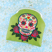 Shop vegan brand LAVISHY's tattoo style sugar skull and red rose flower embroidered kiss lock frame vegan coin purse that is Eco-friendly, ethically made, cruelty free. Great for everyday use or a gift for your family & friends. Wholesale at www.lavishy.com to gift shops, fashion accessories & clothing boutiques worldwide since 2001.