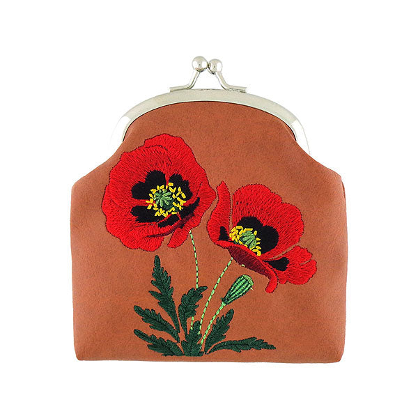 Shop vegan brand LAVISHY's poppy flower embroidered kiss lock frame vegan coin purse that is Eco-friendly, ethically made, cruelty free. Great for everyday use or a gift for your family & friends. Wholesale at www.lavishy.com to gift shops, fashion accessories & clothing boutiques worldwide since 2001.