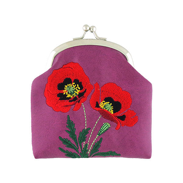 Designed by vegan brand LAVISHY, this Eco-friendly, ethically made, cruelty free retro style kiss lock frame coin purse with lovely poppy embroidery motif. Wholesale available at www.lavishy.com along with other unique & fun vegan fashion accessories for retailers like gift shop & boutique.