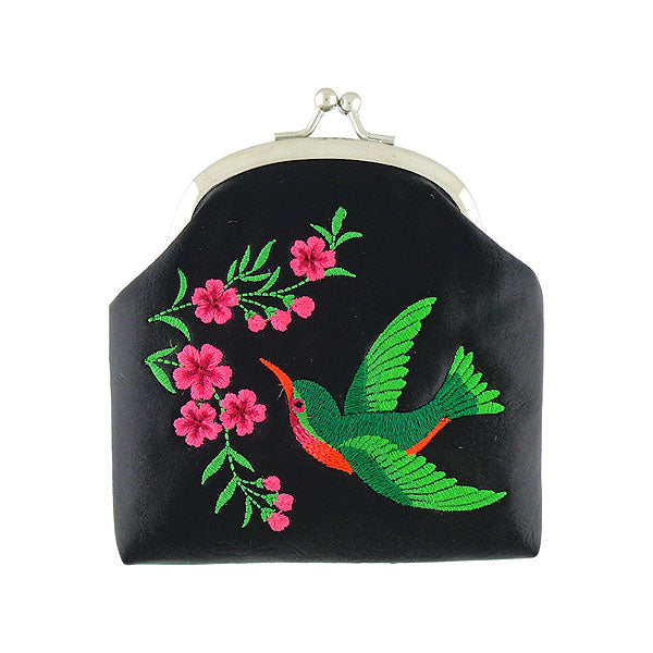 Designed by PETA approved vegan brand LAVISHY, this Eco-friendly, ethically made, cruelty free retro style kiss lock frame coin purse with lovely hummingbird & flower embroidery motif. Wholesale available at www.lavishy.com along with other unique & fun vegan fashion accessories for retailers like gift shop & boutique.