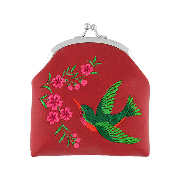 Designed by vegan brand LAVISHY, this Eco-friendly, ethically made, cruelty free retro style kiss lock frame coin purse with lovely hummingbird & flower embroidery motif. Wholesale available at www.lavishy.com along with other unique & fun vegan fashion accessories for retailers like gift shop & boutique.
