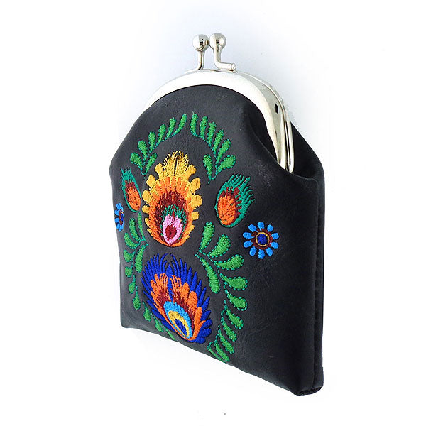 Designed by vegan brand LAVISHY, this Eco-friendly, ethically made, cruelty free retro style kiss lock frame coin purse with lovely polaska & flower embroidery motif. Wholesale available at www.lavishy.com along with other unique & fun vegan fashion accessories for retailers like gift shop & boutique.
