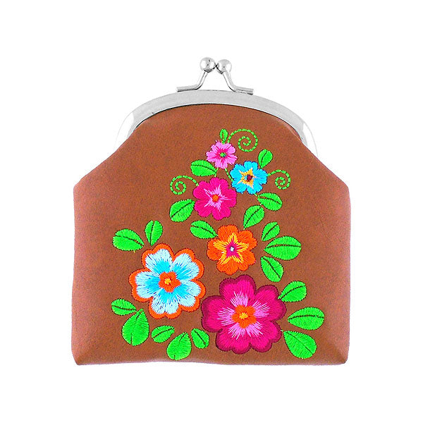 Shop vegan brand LAVISHY's colorful flower embroidered kiss lock frame vegan coin purse that is Eco-friendly, ethically made, cruelty free. Great for everyday use or a gift for your family & friends. Wholesale at www.lavishy.com to gift shops, fashion accessories & clothing boutiques worldwide since 2001.