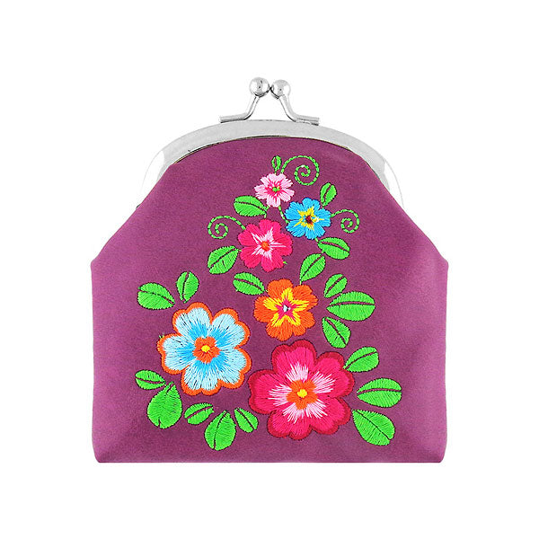 Designed by PETA approved vegan brand LAVISHY, this Eco-friendly, ethically made, cruelty free retro style kiss lock frame coin purse with lovely flower embroidery motif. Wholesale available at www.lavishy.com along with other unique & fun vegan fashion accessories for retailers like gift shop & boutique.
