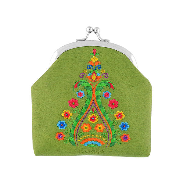 Shop vegan brand LAVISHY's Indian style paisley embroidered kiss lock frame vegan coin purse that is Eco-friendly, ethically made, cruelty free. Great for everyday use or a gift for your family & friends. Wholesale at www.lavishy.com to gift shops, fashion accessories & clothing boutiques worldwide since 2001.