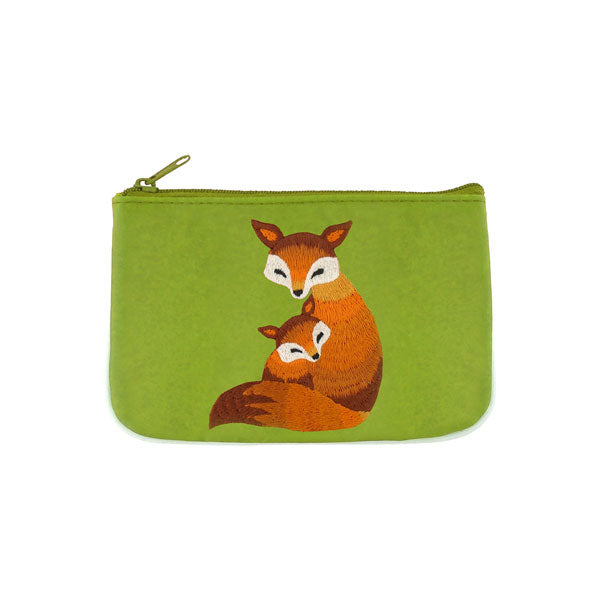 Designed by vegan brand LAVISHY, this Eco-friendly, ethically made, cruelty free small pouch for women features lovely embroidery motif of fox mama & baby. Wholesale available at www.lavishy.com along with other unique & fun vegan fashion accessories for retailers like gift shop & boutique.