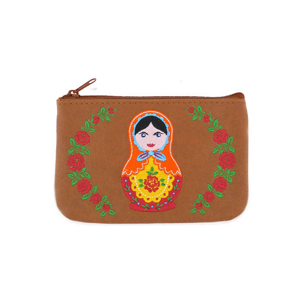 Designed by vegan brand LAVISHY, this Eco-friendly, ethically made, cruelty free small pouch for women features lovely embroidery motif of Matryoshka doll. Wholesale available at www.lavishy.com along with other unique & fun vegan fashion accessories for retailers like gift shop & boutique.