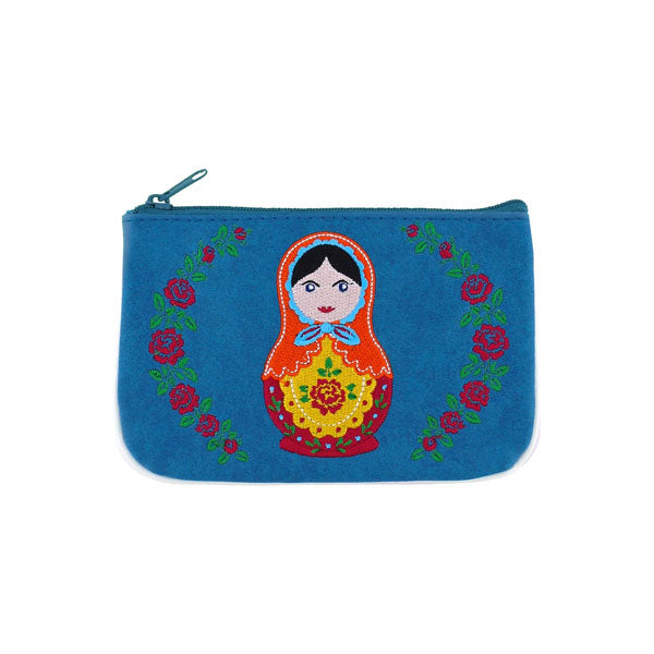 Designed by PETA approved vegan brand LAVISHY, this Eco-friendly, ethically made, cruelty free small pouch for women features lovely embroidery motif of Matryoshka doll. Wholesale available at www.lavishy.com along with other unique & fun vegan fashion accessories for retailers like gift shop & boutique.