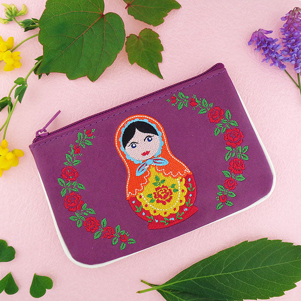 Shop vegan brand LAVISHY's Matryoshka doll embroidered vegan small pouch/coin purse that is Eco-friendly, ethically made, cruelty free. Great for everyday use or a gift for your family & friends. Wholesale at www.lavishy.com to gift shops, fashion accessories & clothing boutiques worldwide since 2001.