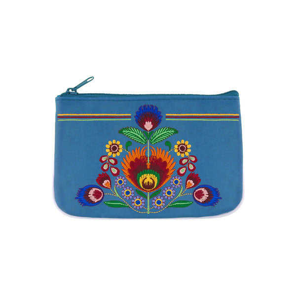 Shop vegan brand LAVISHY's bohemian Polska flora embroidered vegan small pouch/coin purse that is Eco-friendly, ethically made, cruelty free. Great for everyday use or a gift for your family & friends. Wholesale at www.lavishy.com to gift shops, fashion accessories & clothing boutiques worldwide since 2001.